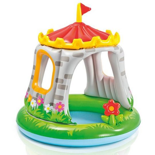 Бассейн Замок с навесом, игрушкой 1-3 года 122*122см