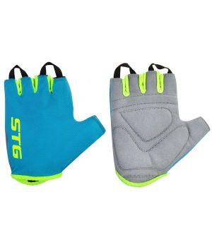 Перчатки STG, AL-03-418, летние, голубые/салатовые (размер M)