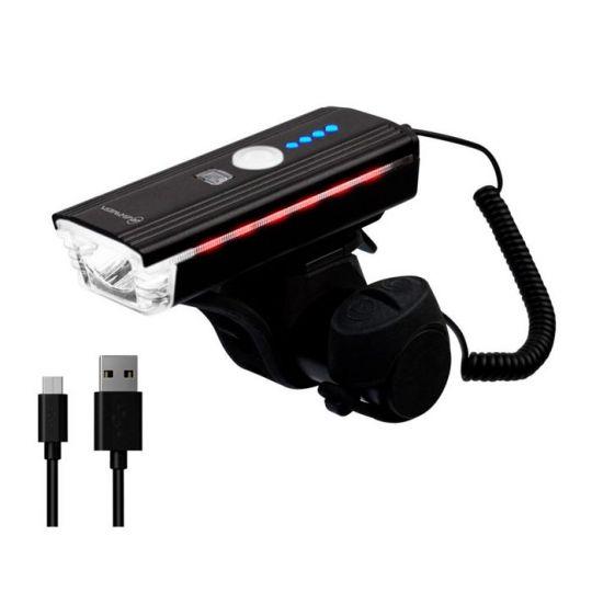 Фара велосипедная со звонком и USB-зарядкой