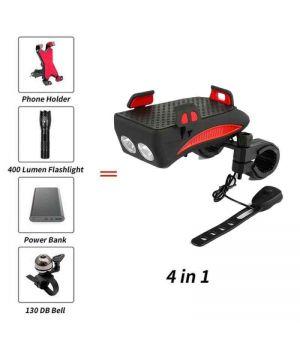 Велосипедный держатель-фонарь 4 в 1 (2000mAh)