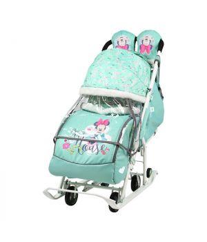 Санки-коляска Disney Baby 2, арт. DB2/2, мята,мини маус, Nika