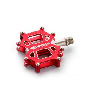 Педали Venzo, алюминий 3D CNC ALLOY, ось: CR-MO, красный