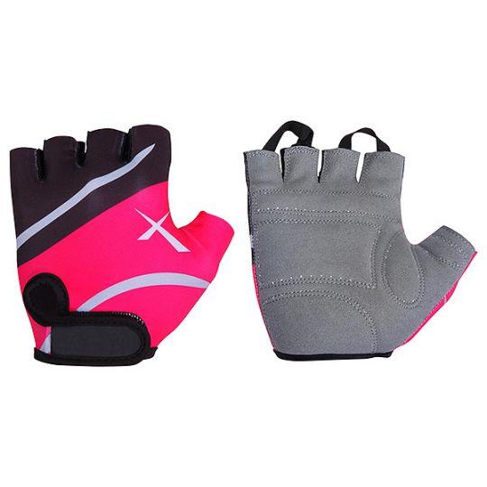 Перчатки STG летние быстросъемные с защитной прокладкой, застежка на липучке (размер S, черно-розовые)