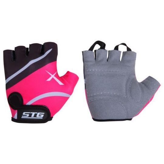 Перчатки STG летние быстросъемные с защитной прокладкой, застежка на липучке (размер L, черно-розовые)