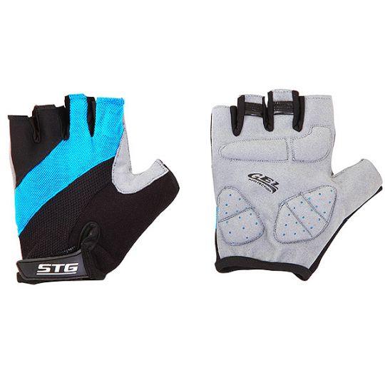Перчатки STG летние с защитной гелевой прокладкой, застежка на липучке (матовая кожа+лайкра, размер L)
