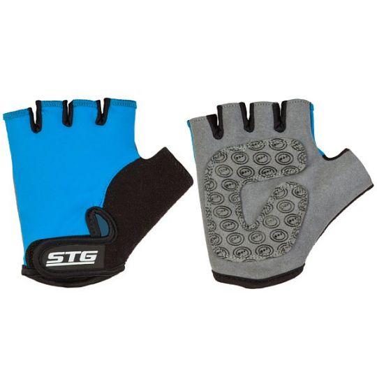 Перчатки STG детские летние с защитной прокладкой, застежка на липучке (размер M, синие)