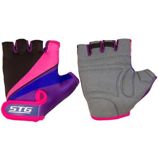 Перчатки STG летние с защитной прокладкой, застежка на липучке (размер ХС, фиолет/черн/розовые)