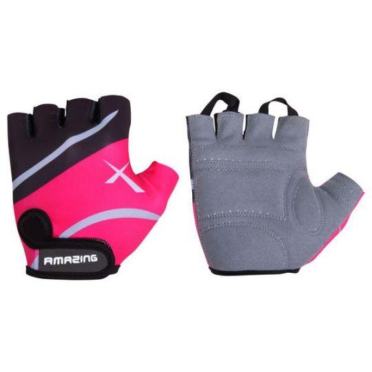 Перчатки летние, черно-розовые, на липучке (размер М)