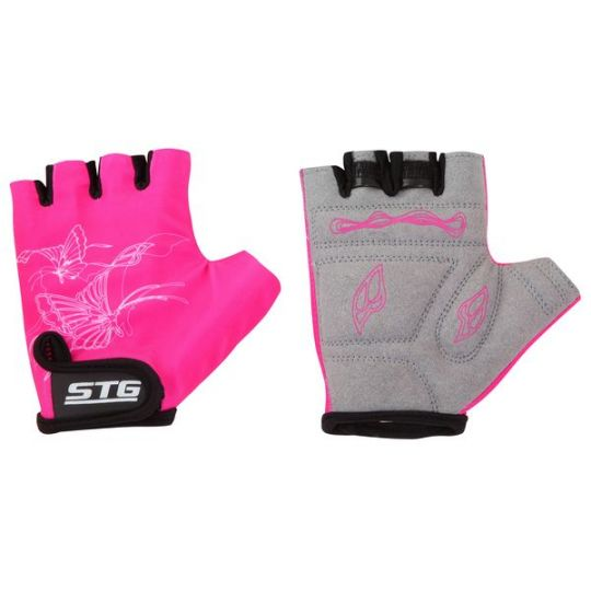 Перчатки STG детские летние с защитной прокладкой, застежка на липучке (размер XS, розовые)