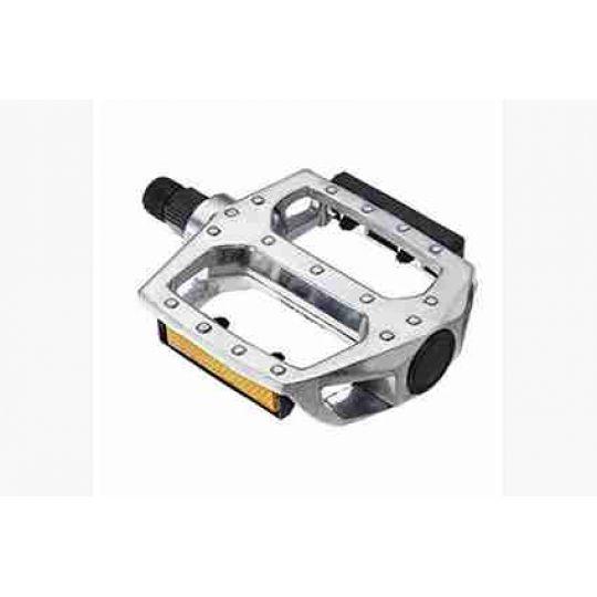 Педали 00-170341 алюминиевые литые широкие, с отражателем, серебристые