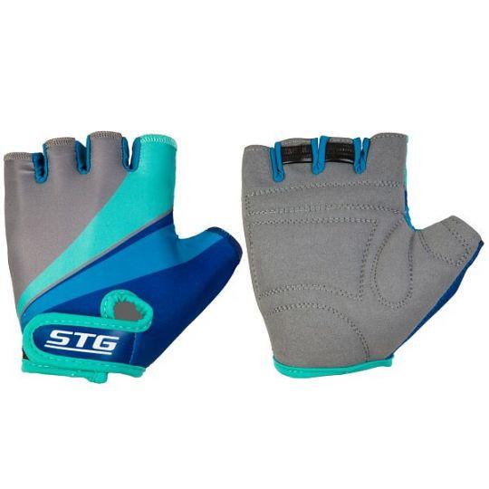 Перчатки STG летние с защитной прокладкой, застежка на липучке (размер ХS, серо/салат/березовые)