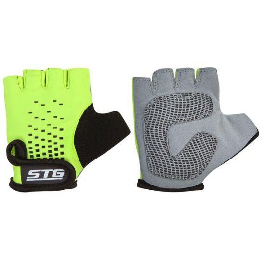 Перчатки STG, AL-03-511, детские, летние, зелено-черные, на липучке (размер M)