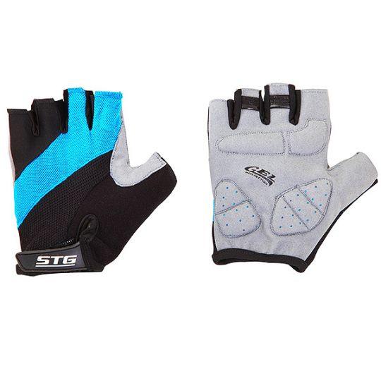 Перчатки STG летние с защитной гелевой прокладкой, застежка на липучке, мат. кожа+лайкра (размер М)