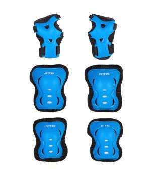 Защита детская STG YX-0317 комплект: наколенники, налокотник, защита кисти. синяя , размер S