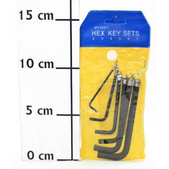 Ключи шестигранные YC-268L-1, (6 частей), чёрные