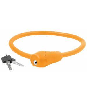 Велозамок 12х600мм силиконовый оранжевый, M-WAVE