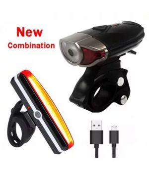 Комплект из переднего и заднего велосипедных LED-фонарей с USB зарядкой и креплением на руль