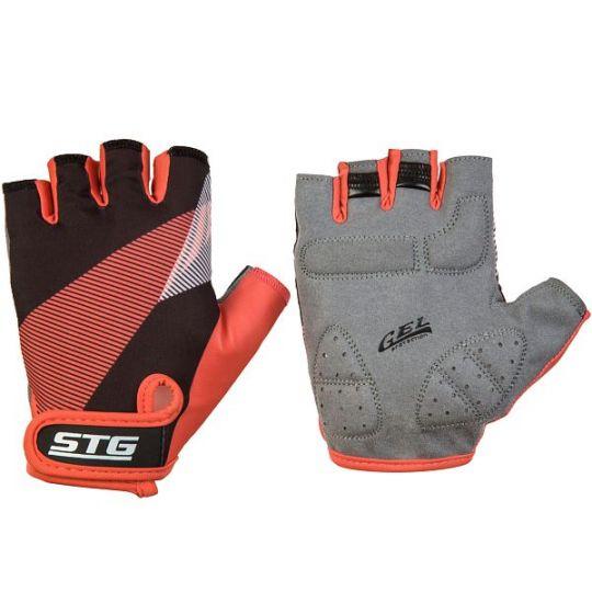 Перчатки STG летние с защитной прокладкой, застежка на липучке, размер С, черн/красный