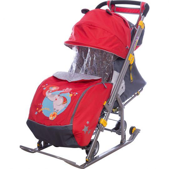 Санки-коляска Ника Детям НД 7 с девочкой и слоном, красный, Nika