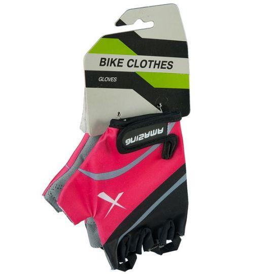Перчатки летние, черно-розовые, на липучке (размер L)