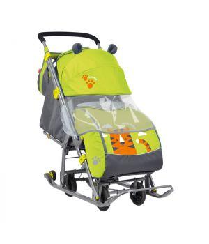 Санки-коляска Ника Детям НД 7 с тигром, лимонный НД7, Nika