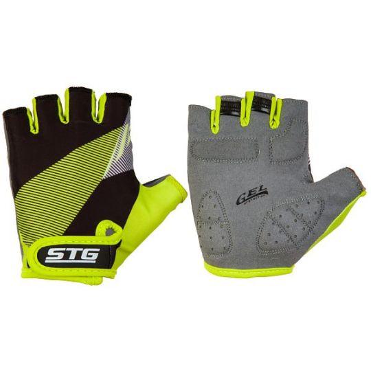 Перчатки STG летние с защитной прокладкой, застежка на липучке, размер М, черн/салат