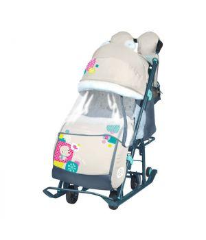Санки-коляска Ника Детям НД7-2, с медвежоноком, бежевый