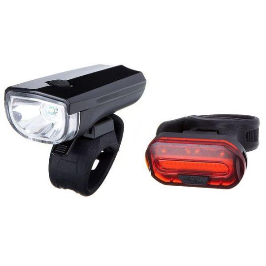Комплект фонарей велосипедныхSTG, JY7024+6068T, задний+передний, резин. Хомут. Бат:(2*CR2032)(нет в комл)