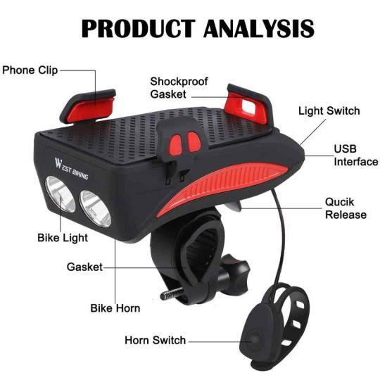 Велосипедный держатель-фонарь 4 в 1 (4000mAh)
