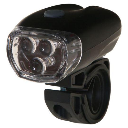 Фонарь велосипедный STG передний JY-566, 3 светодиода, 3 функции, батарея: АААх3 (в компл. не входит)
