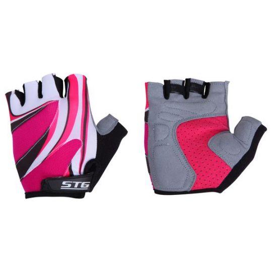 Перчатки STG летние, застежка на липучке (матовая кожа+лайкра, размер L)
