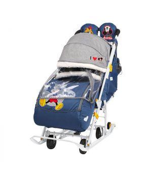 Санки-коляска Disney Baby 2, арт. DB2/4 синий, микки маус, Nika