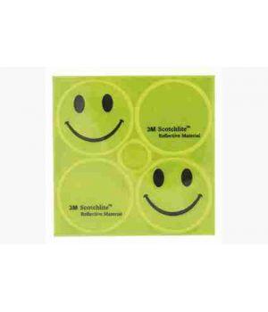 Светоотражающие стикеры  (2 смайлика, 2 лого, желтые)