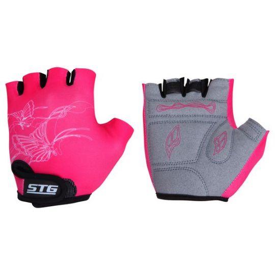 Перчатки STG детские летние с защитной прокладкой, застежка на липучке (размер M,розовые)