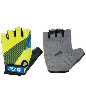 Перчатки STG летние с защитной прокладкой, застежка на липучке, размер М, черн/салат/синие