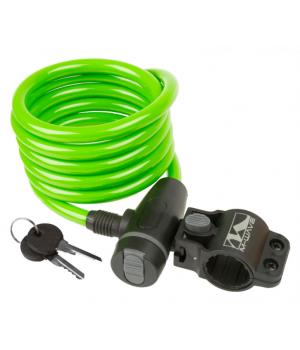 Велозамок M-Wave тросовый, на ключ, 10х1800 мм, зеленый