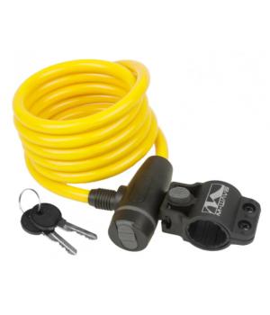 Велозамок M-Wave тросовый, на ключ, 10х1800 мм, желтый