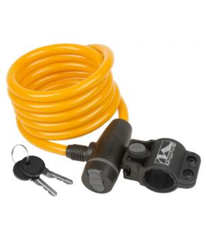Велозамок M-Wave тросовый, на ключ, 10х1800 мм, оранжевый
