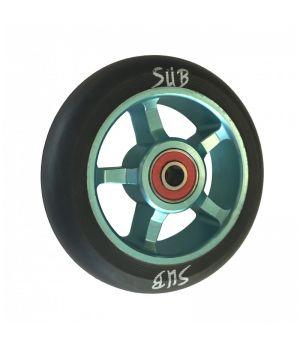 Колесо для трюкового самоката SUB, фрезерованный алюминий, с подшипником ABEC 9, 100 мм, синий/черный
