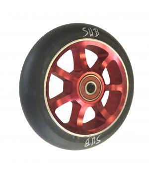 Колесо для трюкового самоката SUB, фрезерованный алюминий, с подшипником ABEC 9, 100 мм, красный/черный