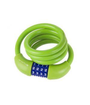 Велозамок M-Wave, тросовый, кодовый, 12х1000 мм, силикон, зеленый