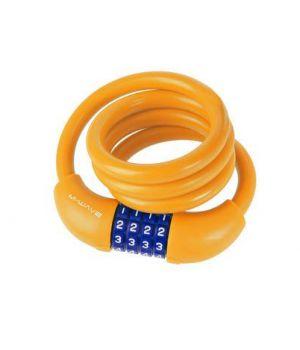 Велозамок M-Wave, тросовый, кодовый, 12х1000 мм, силикон, оранжевый