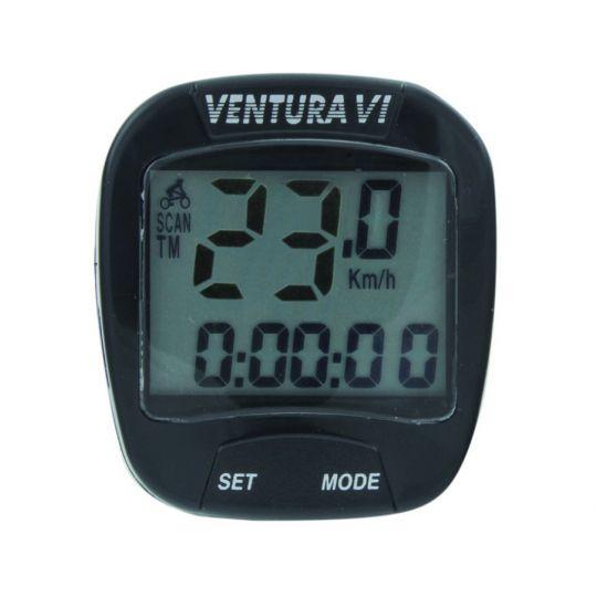 Велокомпьютер VENTURA VI, 6 функций, черный