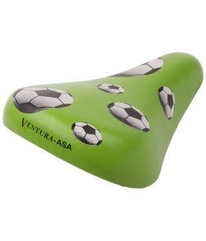 """Седло Ventura """"FOOTBALL"""" CHILD, детское, 210х138 мм, эластомерное, с крепежом 12-16"""", зеленое"""
