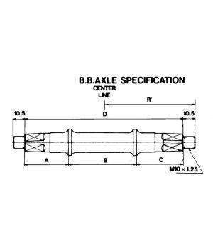 Вал каретки BSA, с гайками, 121.5 мм для резьбы 68 мм